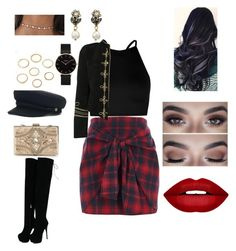 """""""Black and red ⚫️"""" by lerrianne on Polyvore featuring moda, River Island, Boohoo, Yves Saint Laurent, Forever Unique, CLUSE, Gucci y Forever 21"""