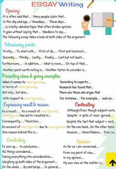 Essay Writing Tips Essay Writing Skills, English Writing Skills, Writing Words, Writing Lessons, Academic Writing, Teaching Writing, Writing Process, English Lessons, Ielts Writing Task 2