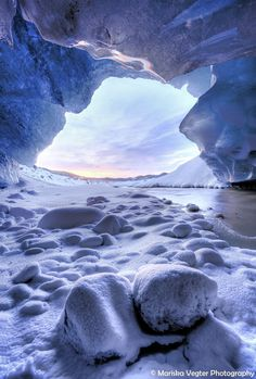 Sunset shot from an ice cave in Iceland.