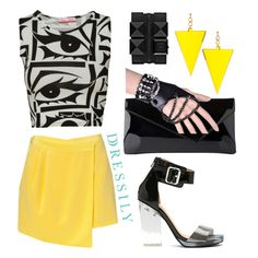Have a printed top in your closet? Mod it up with a bright asymmetrical fitted skirt and matching accessories. Rock this color contrasted outfit with confidence and watch those heads turn! dressi.ly #yellow #chic #summer
