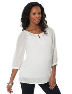 A Pea in the Pod: 3/4 Sleeve Sleeve Detail Maternity Blouse A Pea in the Pod. $79.50