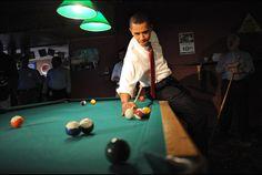 Obama Playing Pool by Scout Tufankjian