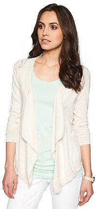 Cardigan with crochet detailing for women (plain-coloured, drapes casually at the front with frills) - TOM TAILOR