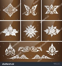 Set of Thai art culture vector,Thai traditional ornament.