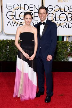 Alexi Ashe walks the red carpet with husband Seth Meyers at the 72nd Golden Globe Awards wearing J. Mendel Spring 2015 Collection on Sunday, January 11th, 2015 in Beverly Hills, California. www.jmendel.com
