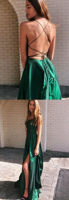 A-Line V-Neck Satin Long Prom Dress with Split Dark Green Evening Dress from Friday Dresses - - A-Line V-Neck Satin Long Prom Dress with Split Dark Green Evening Dress · Friday Dresses · Online Store Powered by Storenvy Source by Fridaydressdress Green Formal Dresses, Elegant Prom Dresses, A Line Prom Dresses, Grad Dresses, Maxi Dresses, Dress Formal, Prom Dresses Long Open Back, Junior Prom Dresses, Prom Long