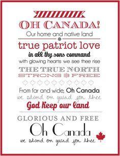 Canada Day Wall Art V2 - I'd prefer we move to singing the line 'in all of us command'... But Canada is a great & caring nation. We must be thankful for it & give all we can to it & its many people.
