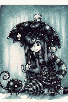 New friends in the rain by parororo on deviantart cute art, emo anime girl, Emo Kunst, Gothic Kunst, Emo Art, Goth Art, Anime Chibi, Manga Anime, Anime Art, Dark Anime, Fantasy Kunst
