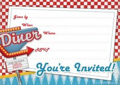 free 1950s retro party invitation from PrintablePartyKits.com