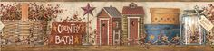 Country shelf,outhouses,jar,tin stars,decorative boxes Wallpaper Border HK4648BD #York