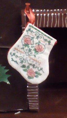 Floral Heart Miniature stocking by Tricia556 on Etsy