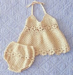 Crochet set for baby-open sarafan and panties decorated with inlays of flower-motives Crochet Baby Bikini, Bikinis Crochet, Baby Girl Crochet, Crochet Baby Clothes, Crochet Bebe, Crochet For Kids, Knit Crochet, Crochet Hats, Crochet Children