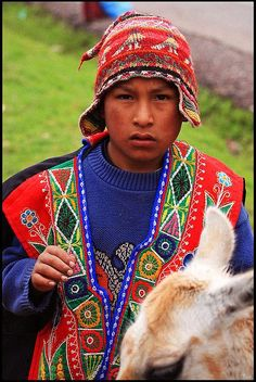 Peruvian boy in traditional clothing: