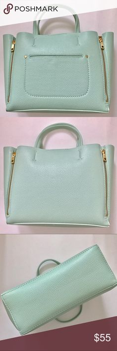 """Mint Ann Taylor Mini Signature Tote Never used. Pebbled faux leather. Tag, wrapping for strap & stuffing still in bag. No flaws, if there's any that I can't see, it's from the manufacturer. Front has pocket w/snap button. Interior has 1 zip pocket. Shoulder/crossbody strap can be removed. Approx measurements: 10""""L (w/gussets opened it's abt 16"""" across) x 9""""H x 4""""W/Double handles drop abt 4"""". 💌Pics taken in natural sunlight & enhanced to make item clearer. True colors may be slightly darker…"""