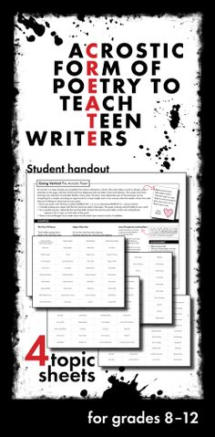 Use acrostic poetry to get your teens excited about writing. Click HERE for a print-and-teach lesson! #poetry