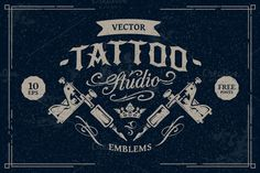Tattoo Studio Emblems by Vecster on @creativemarket