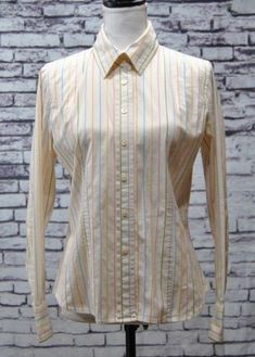facb337a0cf08 Talbots Stretch Womens Shirt Blouse Top Button Front Multicolor Striped L S  Sz S