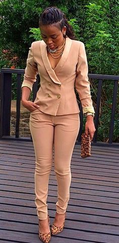 awesome Khaki Blazer, Khaki pant, Animal print pumps, animal print wallet, statement nec...