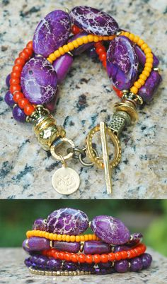 Enchanted Bracelet: Vivid Purple Jasper, Orange Glass and Gold Multi-Strand Bracelet $175