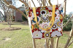 Reversible Tote Bag Pop Art Flowers  Solid by TechnicolorMoments