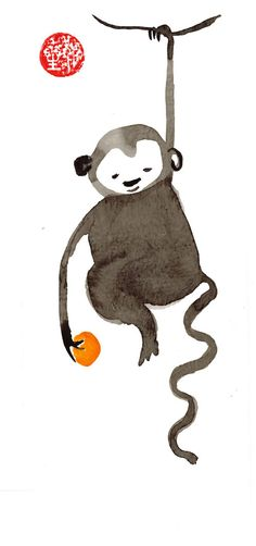Monkey, Chinese New Year card, Zen Chinese Zodiac, Original Sumi ink Painting… Chinese New Year Zodiac, Chinese New Year Card, Drawing Pictures For Kids, Zen Chinese, Zen Painting, Rock Painting, Watercolour Painting, Monkey Drawing, Japan Illustration