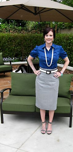 button down shirt and pencil skirt #outfit #officeclassic