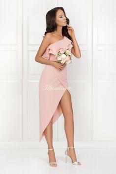 AGNES asymetryczna sukienka pudrowy róż Frill Dress, Pink Dress, Sew Dress, Summer Fashion Outfits, Asymmetrical Dress, Wedding Attire, No Frills, Dress Making, Beautiful Dresses