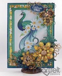 Heartfelt Creations | Peacock With Yellow Daisies