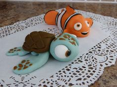 Turtle and Claun Fish Fondant Cake Topper on Etsy, $35.00