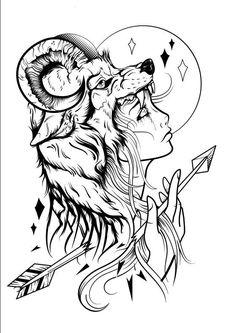 Via behance wolf tattoos, new tattoos, body art tattoos, coloring books, co Tattoo Sketches, Drawing Sketches, Tattoo Drawings, Art Drawings, Kunst Tattoos, Body Art Tattoos, Colouring Pages, Coloring Books, Wolf Tattoos