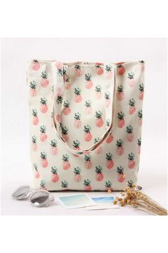 Vintage Pink Pineapple Print Shoulder Bag