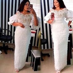 White Lace Aso Ebi Lovely Styles : Long Gown Styles – DeZango Fas… by Zahra Delong - 2019 Trends African Lace Styles, African Lace Dresses, Latest African Fashion Dresses, African Print Fashion, African Attire, African Wear, African Women, Traditional Wedding Attire, Africa Dress