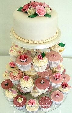 """""""Vintage Wedding Cupcakes"""" flickr photo- Like the idea of the cupcakes with a smaller cake as a topper"""