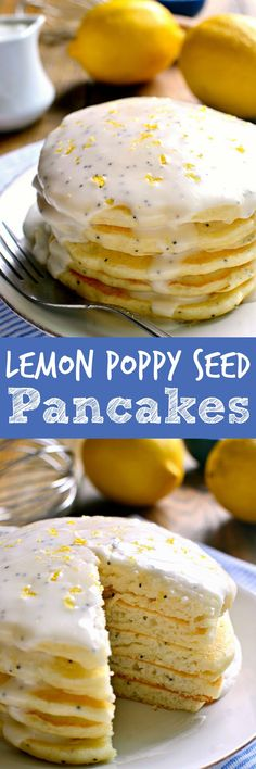 These Lemon Poppy Seed Pancakes are light, fluffy, and bursting with lemon flavor! Try them with lemon poppy seed glaze for a sweet, tart, delicious start to your day. (food tasting dairy free)