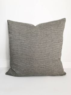 This pillow cover is made to order.  FRONT: This pillow cover is sewn from washed, organic 100% eco friendly linen. It is very soft! BACK: Hopsack linen with bottom zipper COLORS: Grey and Tan stripes  SIZE: Various size.  Choose from drop down menu above.  INSERT NOT INCLUDED  RECOMMENDED PILLOW I