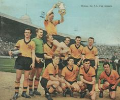 Wolves 3 Blackburn Rovers 0 in April 1960 at Wembley. The victorious Wolves team pose with the FA Cup.