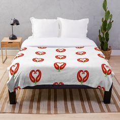 'Red chillis - healthy heart - valantines for vegans -' Throw Blanket by Home And Living, Comforters, Blanket, Designs, Interior, Bedding, Stuff To Buy, Furniture, Printed