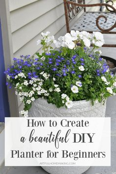 How to create a flower planter for your front porch for beginners! This post will show you how to create your own beautiful planter arrangement. Front Porch Flowers, Front Porch Planters, Porch Plants, Landscaping Plants, Potted Plants, Small Flower Pots, Small White Flowers, Flower Planters, Container Flowers