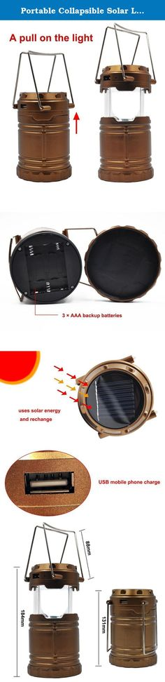 Portable Collapsible Solar Lanterns Rechargeable LED Lantern Camp Lights Table Lamp for Outdoor, Fishing, Blackout, Emergency Charging for Android Cellphone Iphone (Brown). Specifications: Rechargeable LED lantern with a 800 mAh rechargeable built-in battery and solar lanterns charing function can save your emergency hassle if you could not find batteries.solar charge at any time,ALWAYS LIGHT ON. Camp lights Use outdoors or inside. Ideal for camping, hiking, fishing, Emergency outages and...