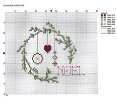 luli: coroncina noel. good chart with DMC floss numbers, and symbols. Not sure how I'll finish this - it's not round, and I don't know what a square will look like. Fast and easy enough that I'll experiment a bit.