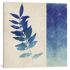 """Bungalow Rose Indigo Leaves IV Graphic Art on Wrapped Canvas Size: 18"""" H x 18"""" W x 1.5"""" D"""
