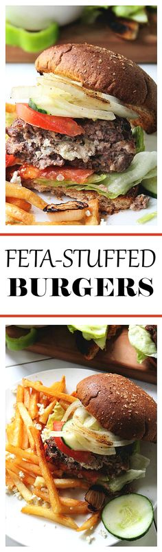 Feta-Stuffed Burgers - Tangy feta cheese is the surprise filling inside these juicy grilled beef burgers!