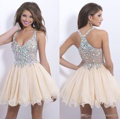 Discount 2014 Blush Inspired Champagne Chiffon Short Homecoming Dresses Beaded Cocktail Dress A-Line V-Neck Beaded Bare Back Party Graduation Dress Online with $105.55/Piece | DHgate