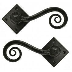 Monkeytail Lever Door Handles on Diamond Rose Black