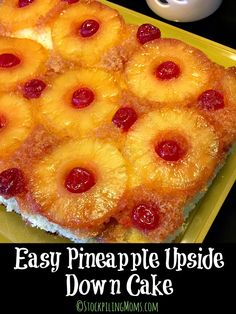 Upside Down Cake Easy Pineapple Upside Down Cake recipe is delicious and I will be making it for Easter dessert!Easy Pineapple Upside Down Cake recipe is delicious and I will be making it for Easter dessert! Desserts Ostern, Köstliche Desserts, Delicious Desserts, Dessert Recipes, Yummy Food, Ester Desserts, Easter Recipes, Appetizer Recipes, Cake Recipes