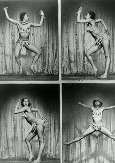 Not your usual burlesque. The outrageous and innovative Josephine Baker performing her famous banana dance Josephine Baker, Vintage Black Glamour, Vintage Beauty, Pin Up, Burlesque, Old Photos, Vintage Photos, Vintage Postcards, Fotografia Retro