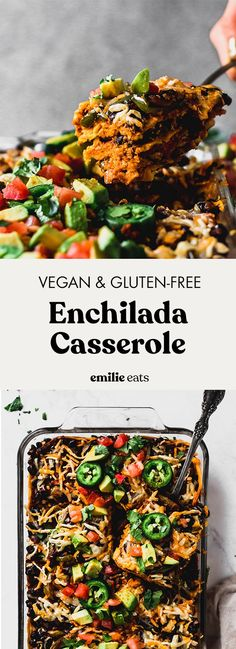 Vegan Enchilada Casserole (gluten-free) – Emilie Eats This Vegan Enchilada Casserole is the definition of hearty vegan comfort food. It's an easy dinner recipe that comes together under an hour. Best Vegetarian Recipes, Vegan Dinner Recipes, Vegan Dinners, Mexican Food Recipes, Whole Food Recipes, Healthy Recipes, Mexican Meals, Meatless Recipes, Raw Recipes