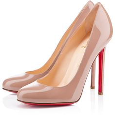 Christian Louboutin Lady Lynch (11,040 MXN) ❤ liked on Polyvore featuring shoes, pumps, heels, christian louboutin, louboutin, nude, new arrivals, nude heel pumps, christian louboutin shoes and nude patent shoes