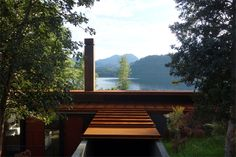 Smiljan Radic - Wood house, Colico Lake 2015. The stilt like structure is designed around the length of un-cut construction lumber, lifting the house above the forest to views of the lake. Scans via,...