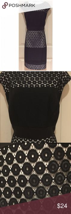 """Studio One New York Black Lace Dress Size 14 Studio One New York   Black Lace Dress   Size 14  Poly/spandex blend   Black and white   Zips up back  Excellent condition but has white marks underarm that I have not tried removing.   22""""chest  18"""" waist  40"""" length   21"""" hip  Retail $70 Studio One Dresses"""